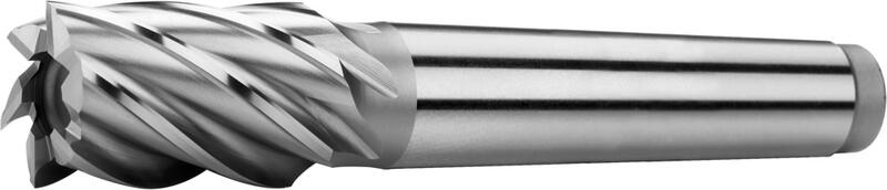 Tapper shank end mills short, semicoarse teeth, 35°, type N