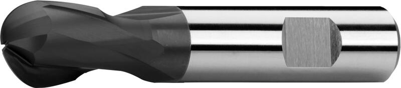 Ball nose end mills short, 2-fluted, 25°, Weldon shank, coating AlTiN