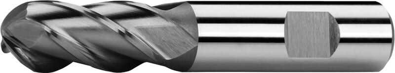 Ball nose end mills short, semicircular teeth, Weldon shank