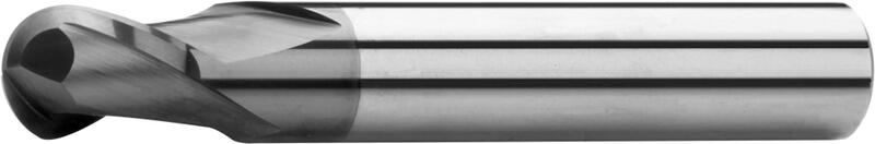 Ball nose end mills short, 2-fluted, type N, plain shank, coating AlTiN