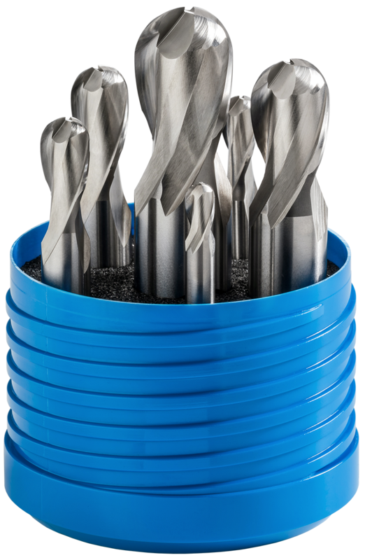 Set of ballnose end mills, 2-fluted