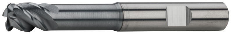 End mills long with corner radius, 44°-45°, type N, Weldon shank, coating AlCrN